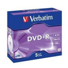 Диск DVD+R Verbatim 4.7Gb 16x Jewel case (5шт) (43497)